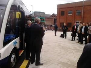 Borough Mayor and Leader Open Bus Station: Cycle Park in Background